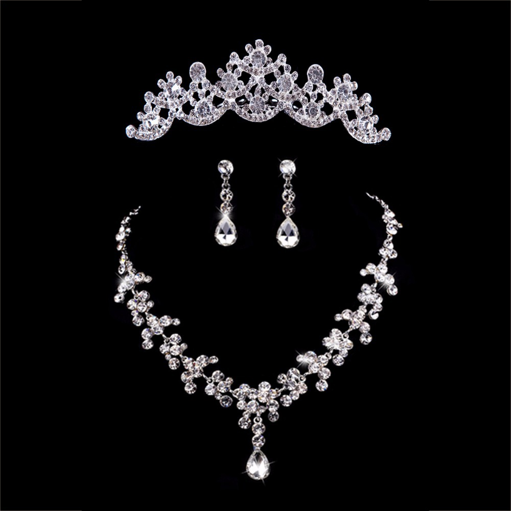 hot sale water drop sliver rhinestone crystal necklace