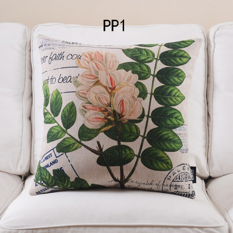 4pcs new design plants leaf floral decorative cushion cover throw pillow case natural style cotton and