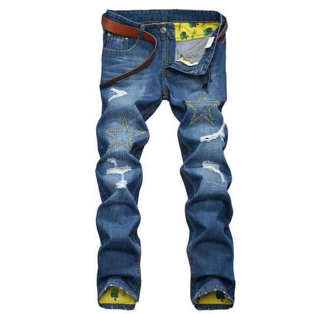 Джинсы высокое качество бизнес брюки свободного покроя прямо разорвал новых печатных ...