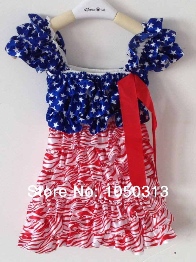 Cap sleeves red white blue patriotic girl's dress,4th of july(China (Mainland))