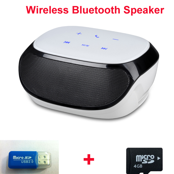 Touch key Bluetooth speaker free ship high quality wireless small fm radio micro sd support Bluetooth speaker + 4GB TF card(China (Mainland))