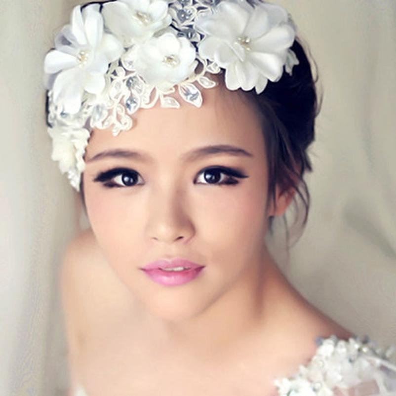 Headwear Flowers pearl lace bridal headdress head hair ornaments handmade crystal garlands outlets free shipping #2511(China (Mainland))
