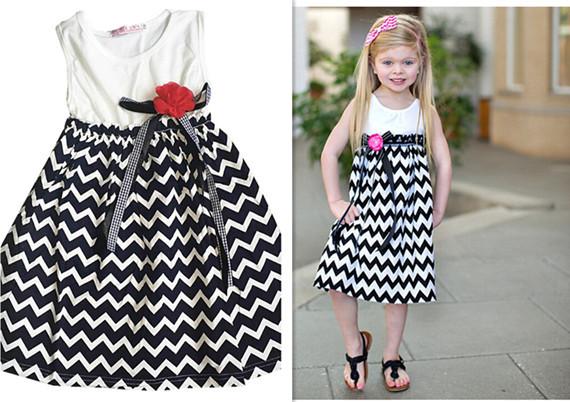 Posh Chevron Girls Dress ,Girls Boutique Dress,Western Girls outfit ,Black Chevron Dress with Flower Retail dress
