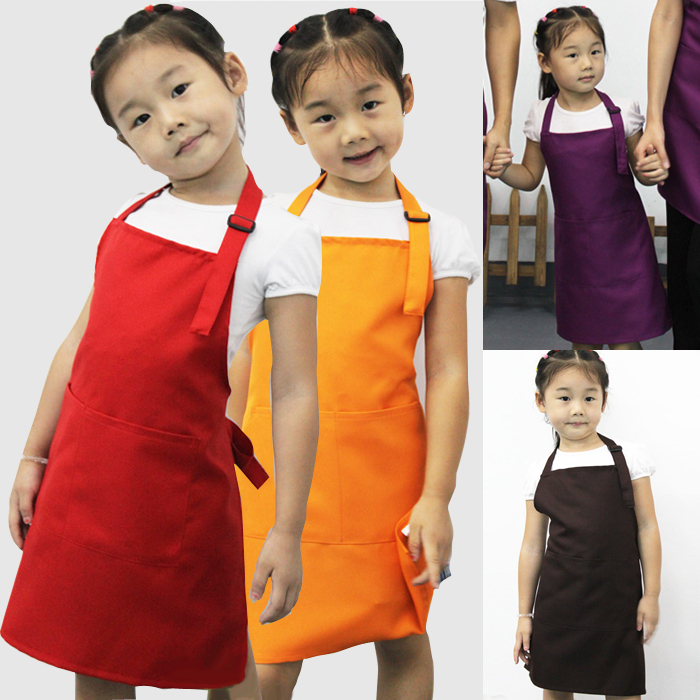 Wholesale 20pcs/lot Little Chef Cute Kids Child Children Cooking Baking Tools Kitchen Dining Apron 7 COLORs Aprons / A3570(China (Mainland))