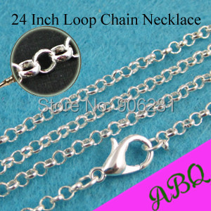 60cm (24 inch) Shiny Silver Rolo chain necklace, Circle Link Chain, 24 Inch Loop Chain with Lobster Clasp Connected(China (Mainland))