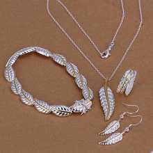 Free Shipping NEW!! jewelry of silver jewelry set Separations Feathers Four-piece Set   jewerly accessories(China (Mainland))