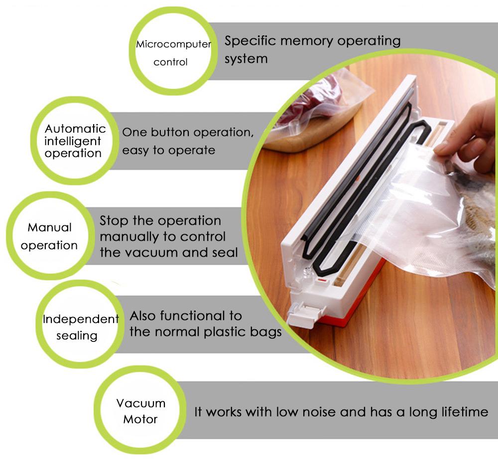 Convenient Household Food Automatic Electric Vacuum Food Sealer Machine Food Sealing Vacuum Packaging Machine Storage Food(China (Mainland))