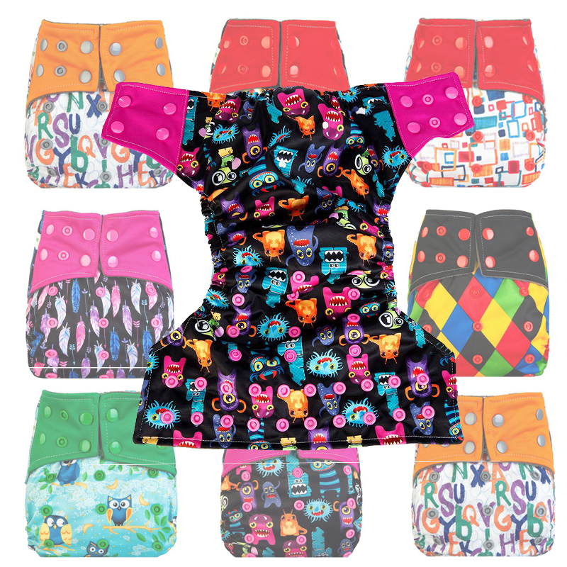 New Baby Adjustable Clothes Washable Babys' Diaper Cover Waterproof Cartoon Diapers Reusable Sport Outside Bamboo Nappy Suit(China (Mainland))