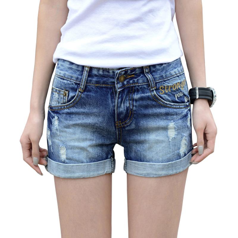 Summer hole denim shorts women Fashion mid elastic waist hemming short jeans Pocket decorate Plus size 25-32 M272 - Lu MS store
