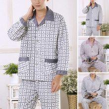 Cotton Pyjamas Turn-down Collar Nightgown Plus Size Men Plaid Woven Pijama Long-Sleeve  Mens Sleepwear Asian Size XL-2XL(China (Mainland))