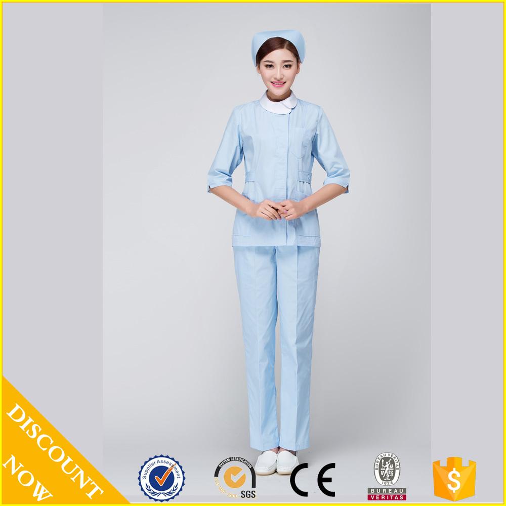 2015 OEM nurse coat white nurse uniform hospital medical scrub short sleeve hot selling(China (Mainland))