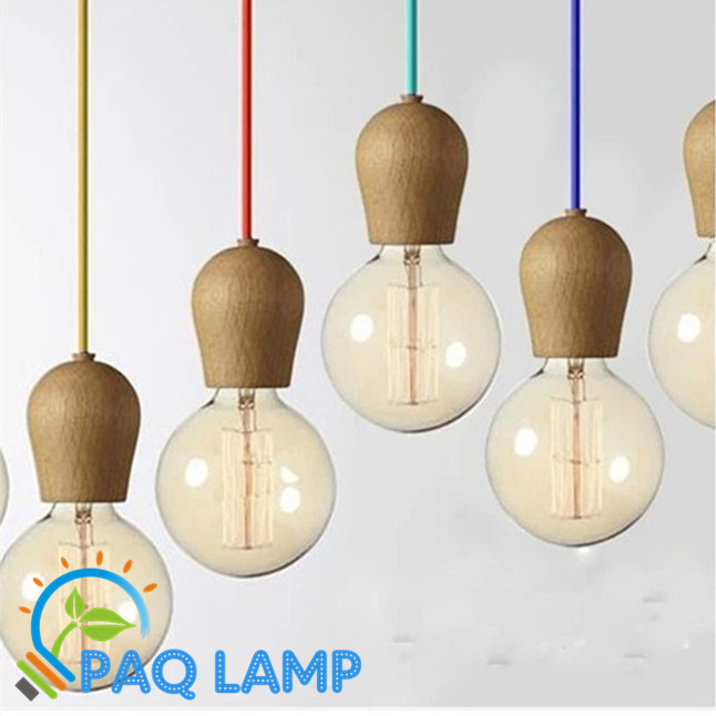 Vintage pendant light Oak Wood lamp 120cm color wire E27/E26 socket wood lampholder Hanging light fixture.only lamp,No bulbs(China (Mainland))