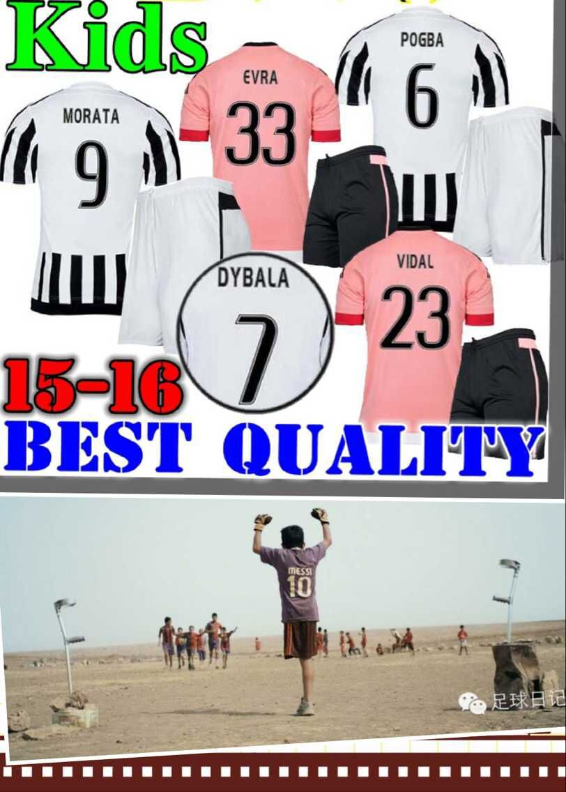 2016 Juve Boy Home Away soccer jerseys 15 16 Children POGBA BYBALA MORATA VIDAL EVRA PEREYRA MARCHISIO Kids(China (Mainland))