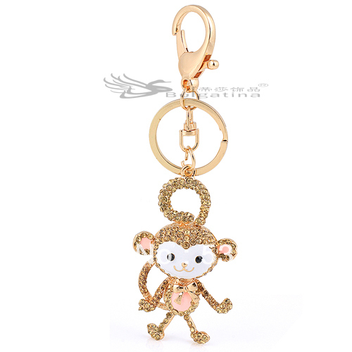 !! retail 18K gold plated cute monkey key chain,Hot keychain KY5139-1 - Disha Findings store