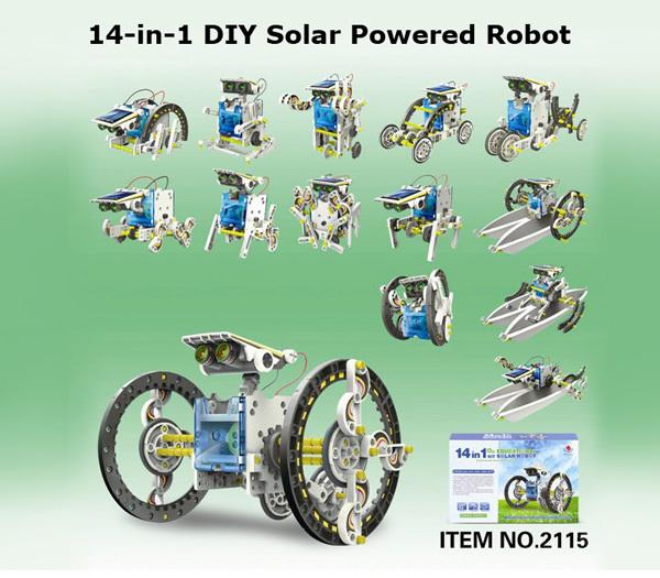 14 In 1 Solar Powered Robot Pattern Building Block Assembling DIY Solar Powered Toy kids Child DIY solar powered building block(China (Mainland))