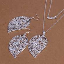Hot selling , free shipping silver plated jewelry set, fashion jewelry set Leaves Necklace&Earring Jewelry Set SMTS180(China (Mainland))
