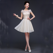 champagne colored formal beautiful ladies formal wear short fitted teen formal prom dresses made in china free shipping S3199(China (Mainland))