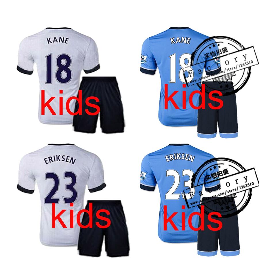 15 16 Tottenham Soccer kids Jerseys kit Kane ERIKSEN Lamela 2015 SOLDADO YEDLIN Jersey football Children boy football shirt sets