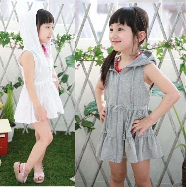 Новые поступления детские летние платья для девочек с короткими рукавами спорт капюшоном платья детская одежда из 100% хлопка
