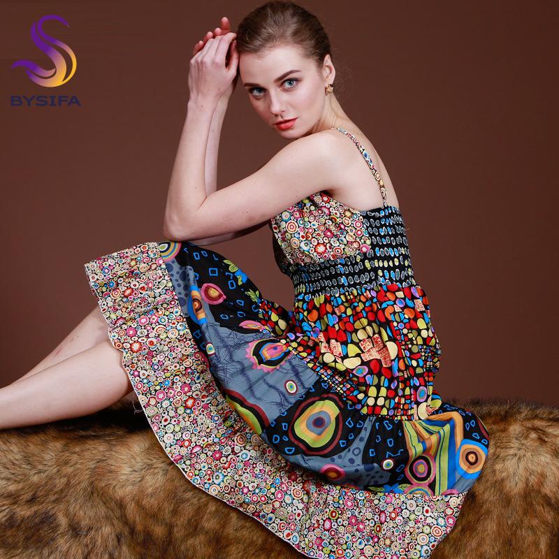 2015 New Bohemian Young Women Cotton Dress Printed Fashion Knee-length V-neck Girl Sundresses Summer Beach Dress Pink,Black,Blue(China (Mainland))