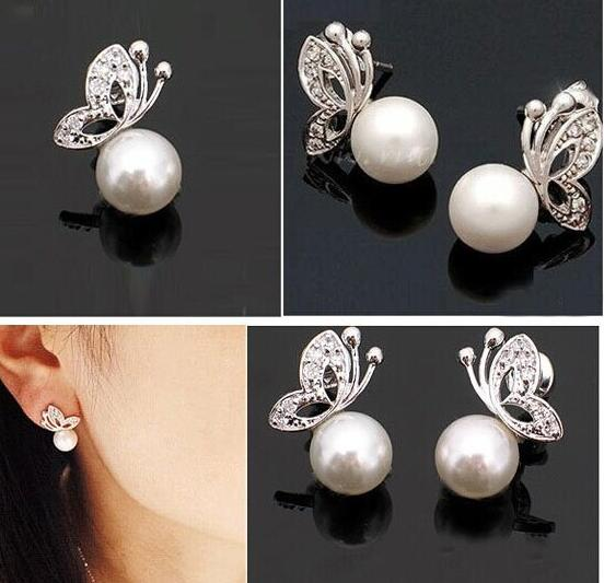 2014 Fashion Korean Jewelry Pearl Earrings Silver free shipping (MIN order $10 mixed order)jewlery wholesale<br><br>Aliexpress