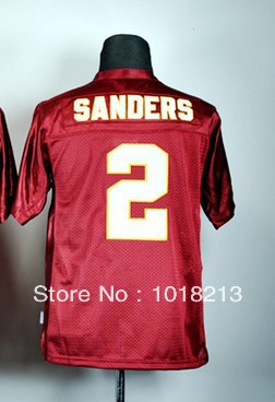 cheap youth/boy/kid's college football jersey Florida State Seminoles #2 Deion Sanders Red stitched football shirt(China (Mainland))