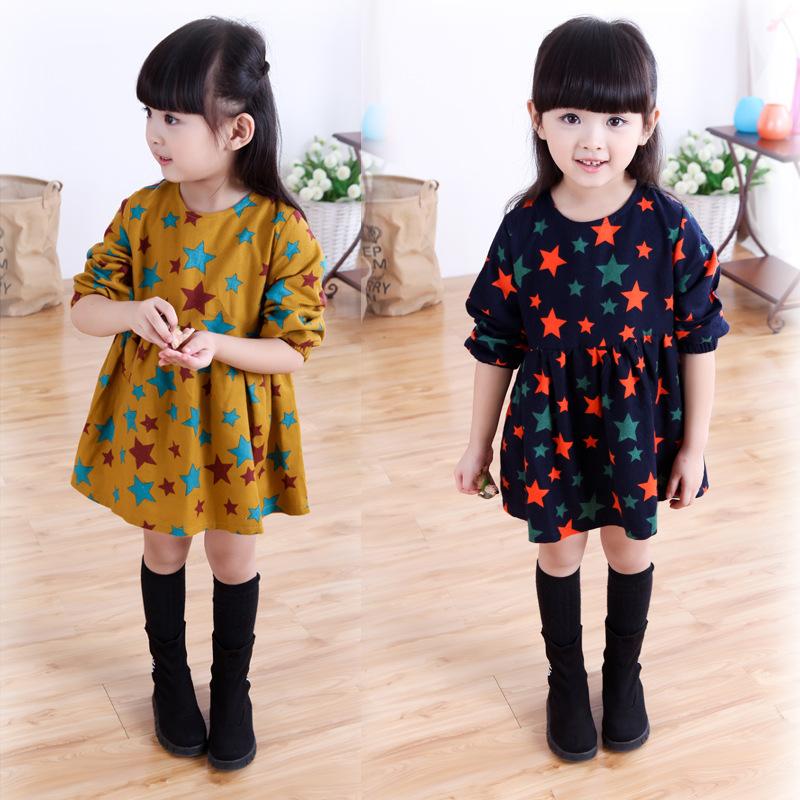 Baby dress children girls 2015 winter 5 year old girl navy blue dress girls fall dresses kids clothes star pattern dress(China (Mainland))