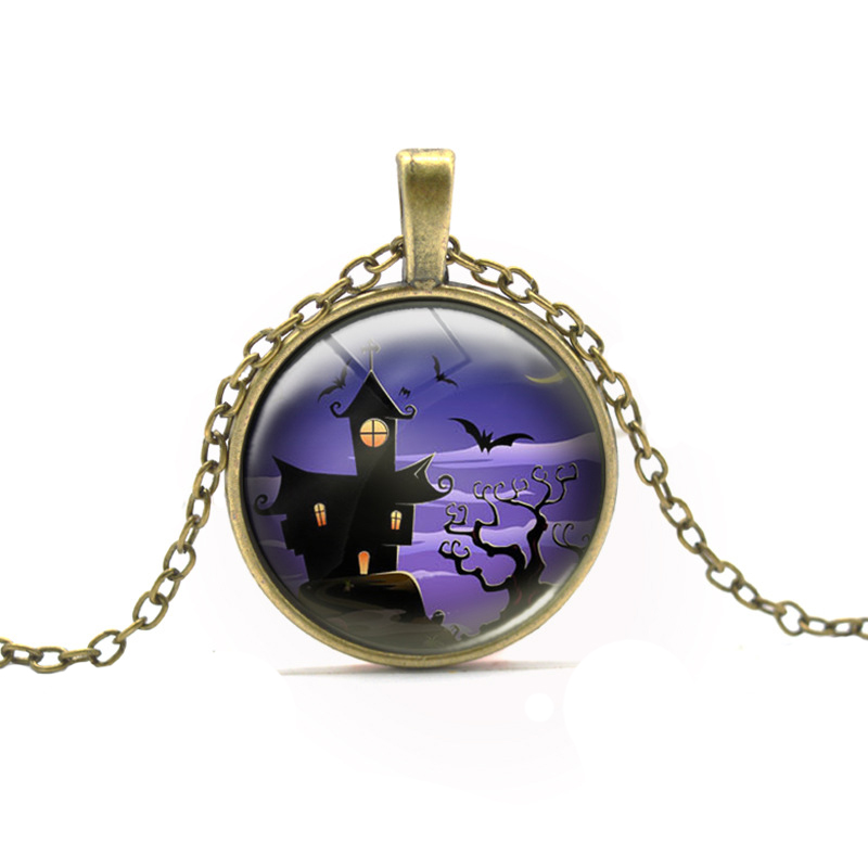 Hot Sell Vintage Cartoon Bat Castle Pattern Pendant Necklace High Quality Purple Sky Long Necklace Halloween Party Gift Ornament(China (Mainland))
