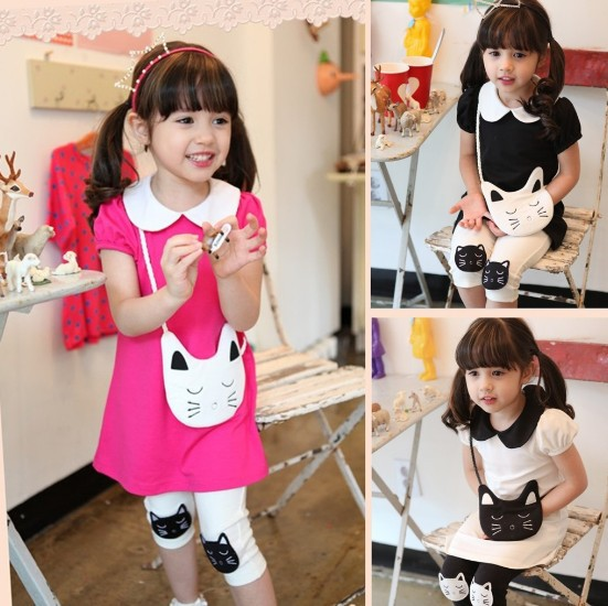 Kids Clothes Sets 2015 Summer Cat Dress + Short Leggings Girls Suits 3 Colour Pure Cotton Children TR153 - Baby Kid Monopoly Shop store