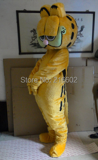 High quality garfield mascot costume christmas party carnival bizarre dress adult size free shipping(China (Mainland))