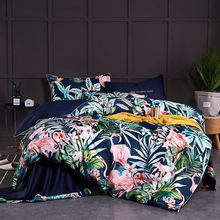 2018 egyptia cotton Tropical plant printing Bedding Set for adults 4Pcs King Queen size Duvet Cover Bed Sheet set Pillowcases(China)