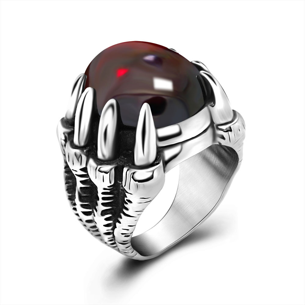 New Design Mosaic red black gems Ring Vintage dragon claw finger ring Fashion Noble Luxury Elegant Charm 316L unisex Ring(China (Mainland))