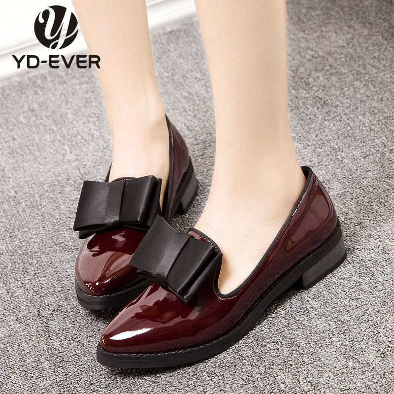 2016 new Genuine Leather Women Flats Shoes Slip On Woman Fashion patent Leather Loafers Brand Bow sweet shoes business shoes(China (Mainland))
