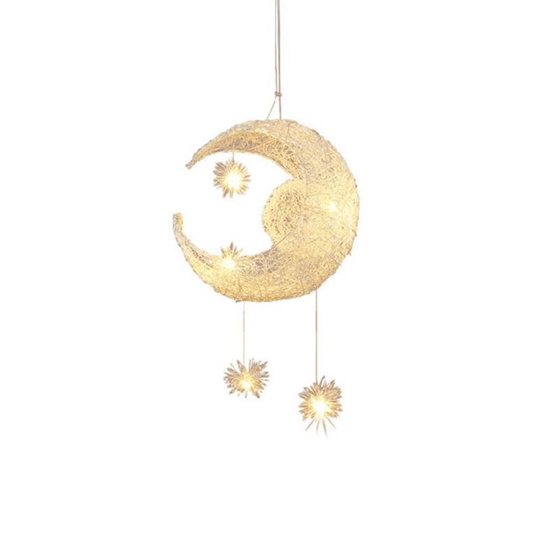Фотография Moon Star Kids Pendant Lights Silver Aluminum Pendant Lamp For Baby Kids Children Lighting Dixtures Suspension Lustres  L100