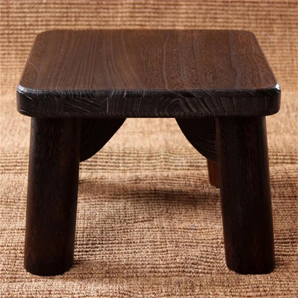 Square Japanese Antique Wooden Stool Paulownia Wood Asian Traditional Furniture Living Room Portable Small Wood Low Stool Design