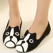 Women Casual Shoes 2016 Dog Cat Flat Shoes Sapatilhas Women's Shoes Alpargatas Loafers Casual Cartoon Suede Brand Flats Shoes