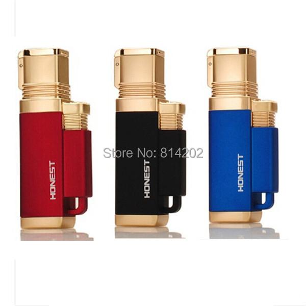 1pc Windproof Honest Lighter 4 Nozzles Jet Torch Flame Cigar Butane Lighter #22(China (Mainland))