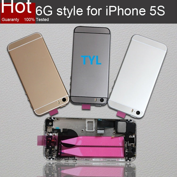 New Back Cover Full Housing Assembly Complete for iPhone 5s Make your 5s Look like 6 Style 1 piece free shipping(China (Mainland))