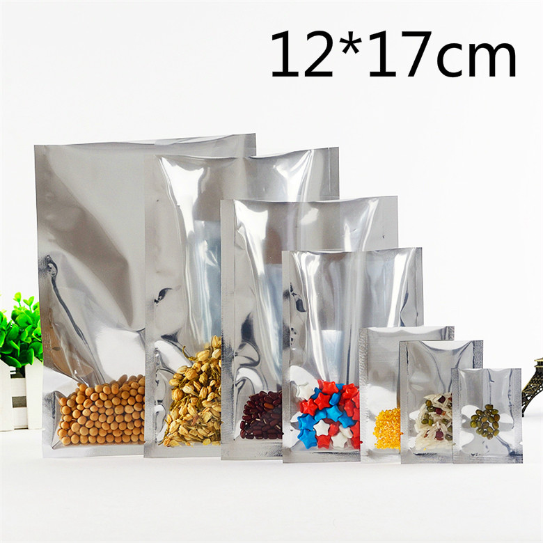 12*17cm Silver Open Top Translucent Aluminum Foil Poly Pack Package Bags Front Clear Heat Seal Coffee Food Storage Vacuum Pouch(China (Mainland))