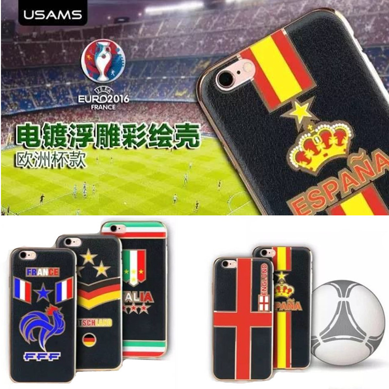 Relief European Cup Style Case For iPhone 6 6S Plus Plating TPU Back Cases England Italy France Spain Gernamy Team Shell Cover(China (Mainland))