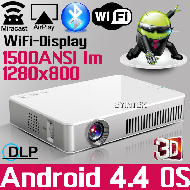 Support all 3D 1500ANSI HD Android bluetooth DLNA Miracast DLP 2D to 3D HDMI VGA USB SD Handy Pocket LED Mini Projector beamer(China (Mainland))