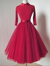 Осень красный женщины день платье half-рукава короткие твердые женщины одеваются урожай 1950 s платье