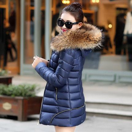Long Winter Jacket Women 2015 New Fashion Fur Collar Hooded Coat Women Thicken Warm Cotton Down Parka Coats Womens Jackets Y89D