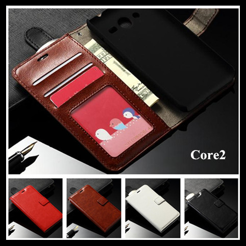 Luxury wallet bag stand retro carzy horse Pattern TOP leather case cover Samsung Galaxy Core2 G355H Core 2 G355 - Jack Convenience Market store