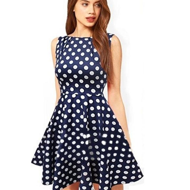 Women Casual Elegant Sleeveless Party Dresses Vintage Dresses Dots Printed Navy Plus Size S / M / L / XL NQ851551(China (Mainland))
