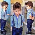 Fashion Baby Boys Jeans Pants Striped Shirt Children s Sets Tuxedos Costume Pantalon Homme kids clothes