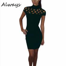 Buy Turtle Neck Club Dress Hollow Mesh Slim Dresses Sexy Skinny Cut Bodycon Dress RZ for $5.18 in AliExpress store