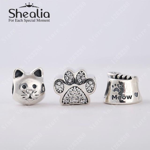 Осень Cat ювелирные комплект 925 чистое серебро животные подвески-талисманы комплект подходит бренд браслеты своими руками модное Shealia ювелирные изделия