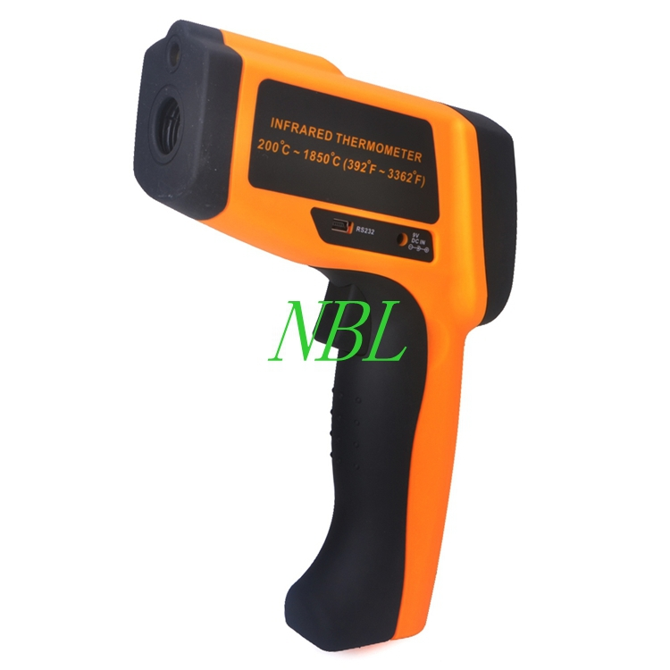 80:1 Non-Contact Industrial Digital Infrared Thermometer Laser Temperature Gun Tester Range 200~1850 Degree With RS232 Interface(China (Mainland))