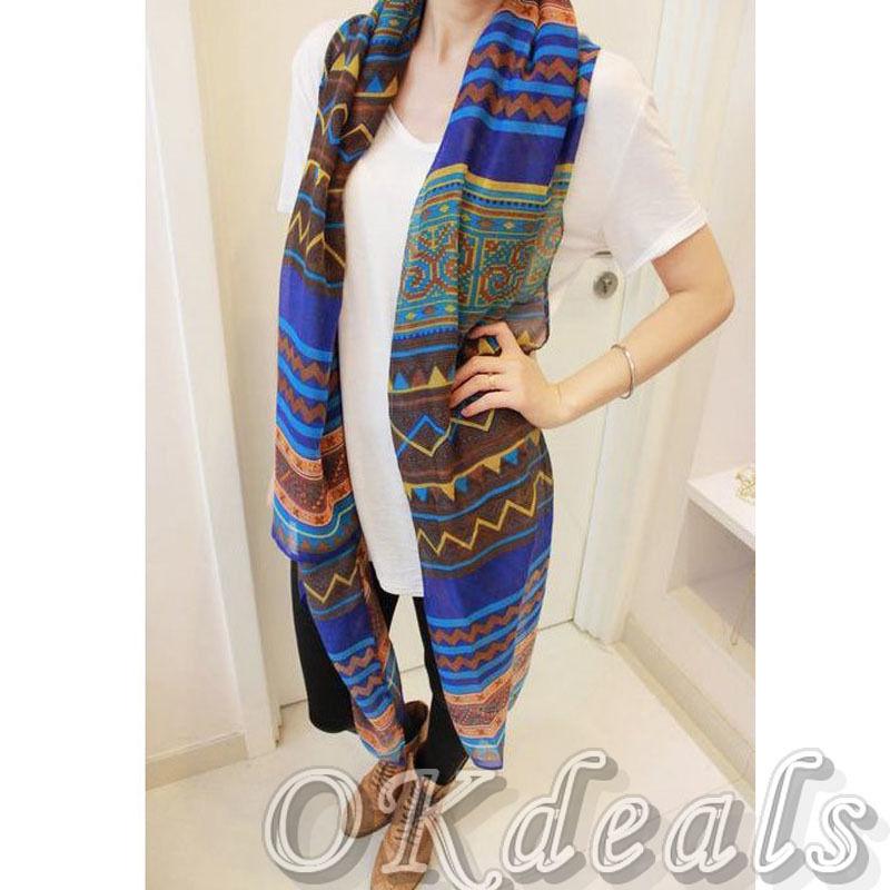 1 X женщины леди урожай богемия длинные большие мягкие вуаль печать шарф платок шарфы обруча рождественский подарок пашмины